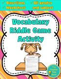 Dollar Deals! Vocabulary Riddle Activity