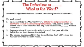 Vocabulary Review Games Packet