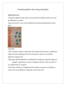 Vocabulary Review Ideas Using Sticky Notes