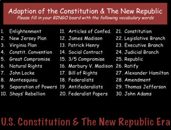 Vocabulary Review PowerPoint Presentation: U.S. Constitution & The New Republic