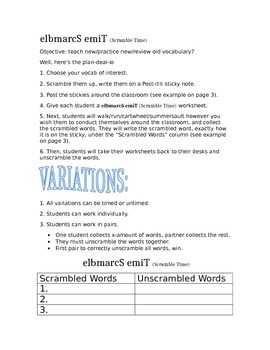 Vocabulary Review Resource