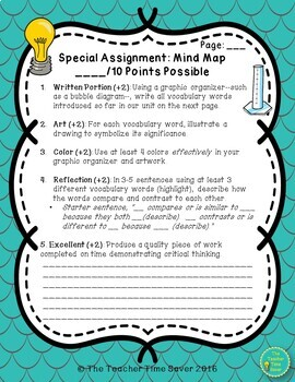 Vocabulary Review Science Activity
