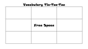 Vocabulary Review-Tic-Tac-Toe Template
