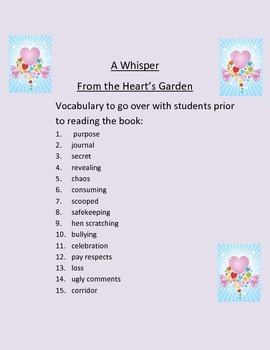 Vocabulary Review for A Whisper From the Heart's Garden