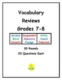 Vocabulary Review for Grades 7 & 8