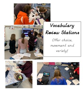 Vocabulary Review stations- Pictionary, Story writing, Basketball, and Gaming!