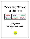 Vocabulary Reviews Grades 6-8