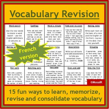 Vocabulary Revision Activities for French
