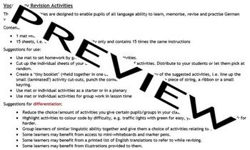 Vocabulary Revision Activities for German