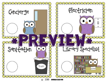 Vocabulary Rich Classroom Job & Application-Owl Themed