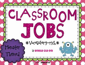 Vocabulary Rich Classroom Job & Application-Monster Themed