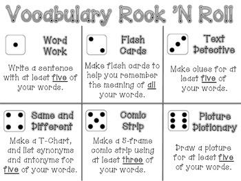 Vocabulary Rock N Roll Menu