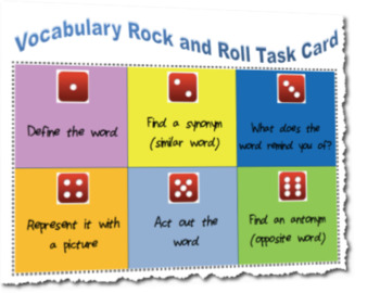 Vocabulary Rock and Roll Through Dice Task Card Activity