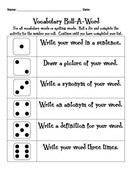 Vocabulary Roll-A-Word Activity