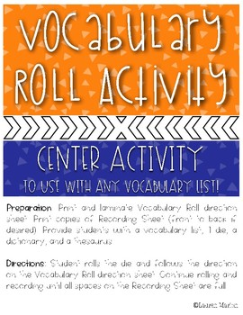 Vocabulary Roll Center Activity