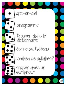 Dice game vocabulary roll French jeu de vocabulaire