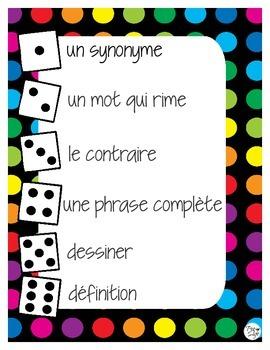 Dice game vocabulary roll French jeu de vocabulaire