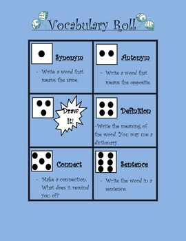 Vocabulary Roll~ Fun Way to Practice Spelling/Vocab