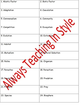 Living Things in the Ecosystem Vocabulary Activity Roll The Dice (Editable)