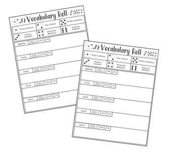 Vocabulary Roll with Tier 2 Words