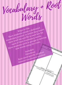 Vocabulary / Root Words Interactive Journal Boxes