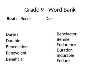 Vocabulary Roots (Dur-) and (Bene-) Pictorial Study Guide