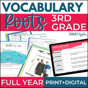 Greek & Latin Roots Word Study BUNDLE - Full Year Vocabulary Program - Gr. 3-4