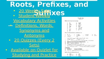 Vocabulary Roots, Pre & Suffixes WHOLE YEAR BUNDLE (Slides, Practice & Quizzes)