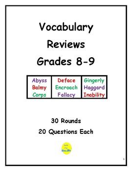Vocabulary Rounds for Grades 8 & 9