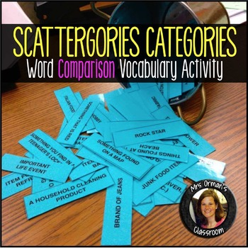 Vocabulary Categories Comparison Activity ANY Class