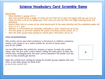 Vocabulary Scramble Game: Classifying Matter (TEK 5.5A)