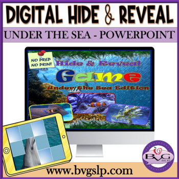 Vocabulary Sea Animals Hide and Reveal PowerPoint Game Teletherapy Digital