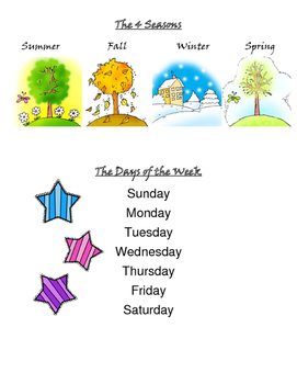 Vocabulary Season Months Days of the week Holidays Weather
