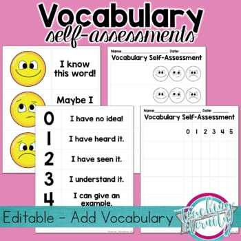 Vocabulary Self Assessment Worksheets and Posters