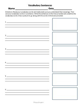 Vocabulary Practice Sentence Assignment and Rubric