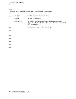 Vocabulary Set #4 Assessments