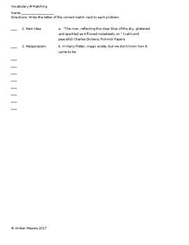Vocabulary Set #6 Assessments