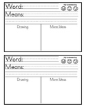 Vocabulary Sheet for Little Ones