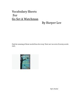 Vocabulary Sheets---- For Go Set A Watchman