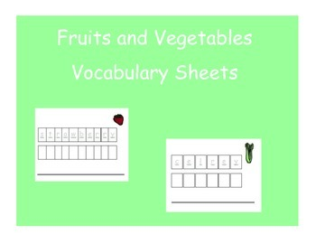 Vocabulary Sheets for Students with Autism - Fruits and Vegtables