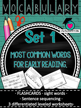 Vocabulary/Sight Word Pack Set 1 Early Reader - Most Common words.
