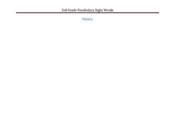 3rd Grade Vocabulary (>200) Sight Words
