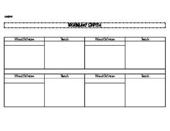 Vocabulary Sketch Organizer