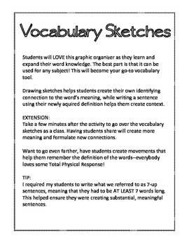 Vocabulary Sketches Graphic Organizer
