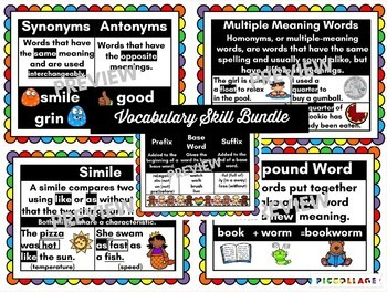 Vocabulary Skills Anchor Chart Bundle