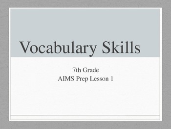 Vocabulary Skills Overview PowerPoint
