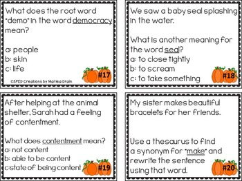 Vocabulary Skills Review: Task Cards, Worksheets, and PowerPoint Show