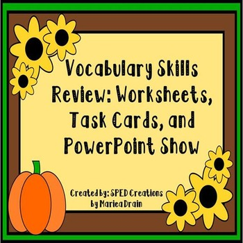 Vocabulary Skills Review: Task Cards, Worksheets, and Powe