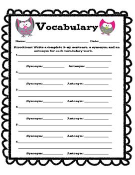Vocabulary Skills Sheet with Owls
