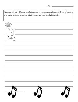 Vocabulary Song Sheet